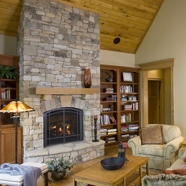 A fireplace makes a home