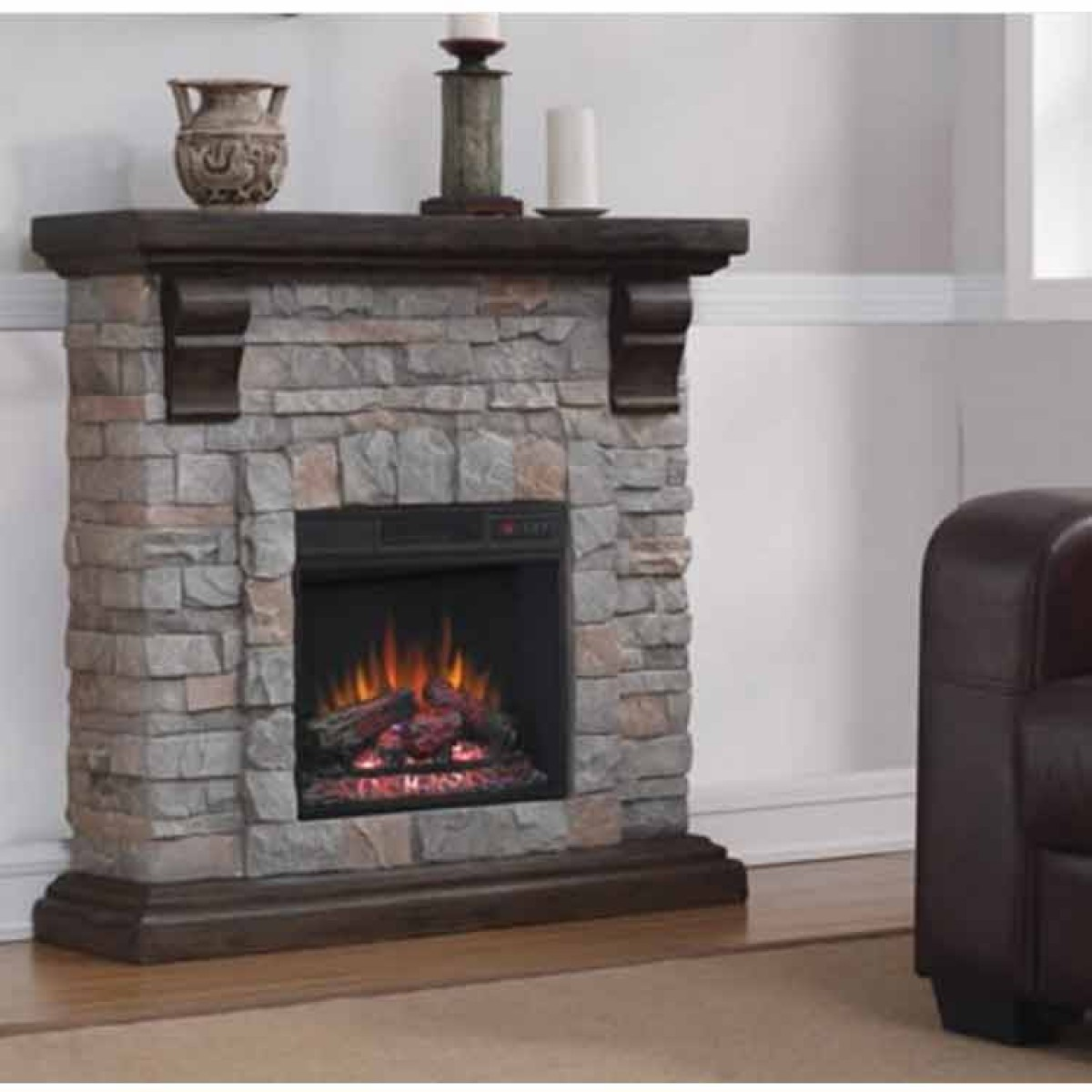 Classic Flame 18 Electric Insert Pioneer Mantel Set At
