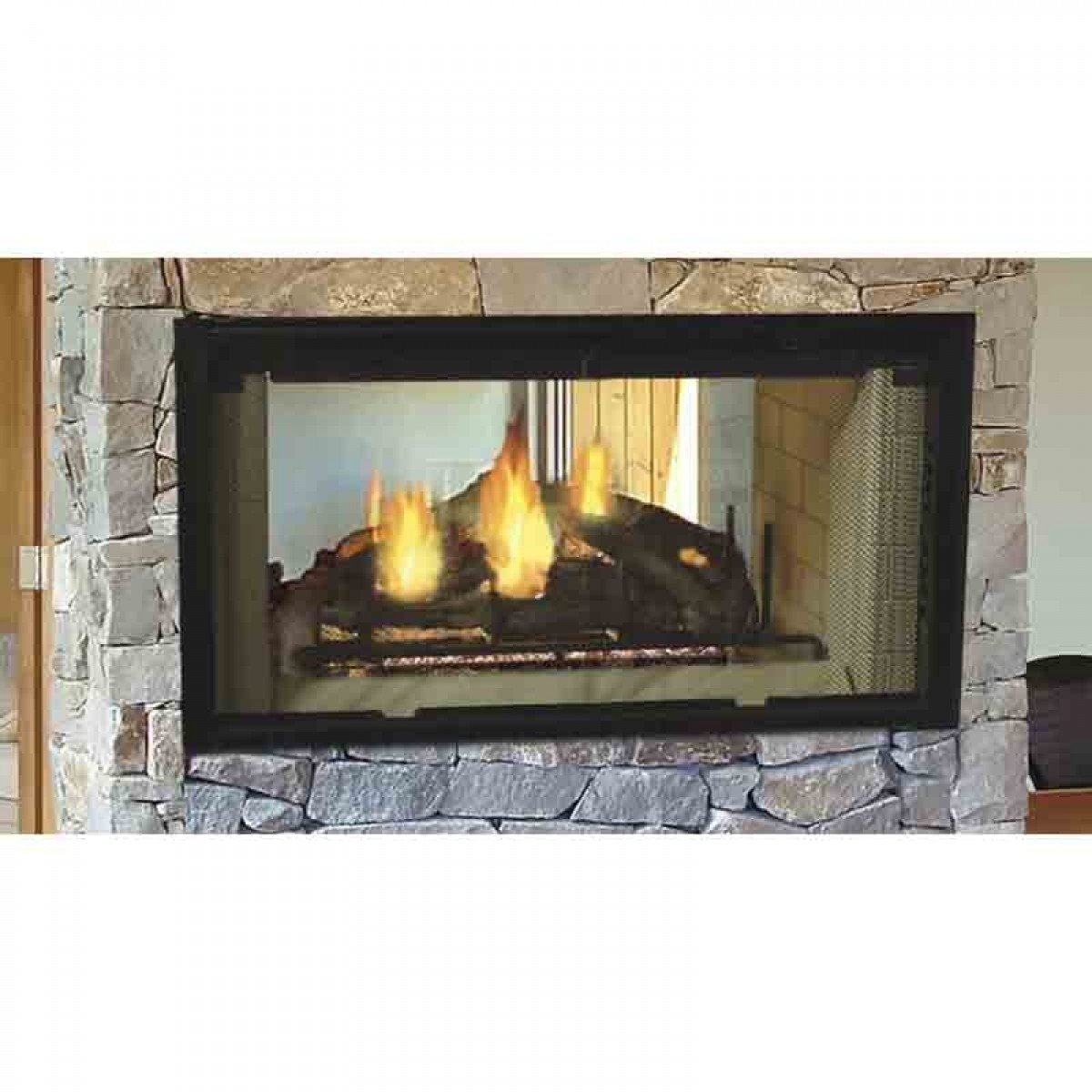 majestic designer see through wood burning fireplace