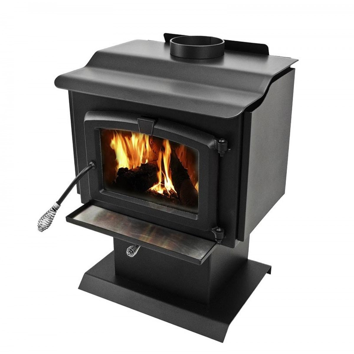 Pleasant hearth small wood burning stove with pedestal Wood burning stoves