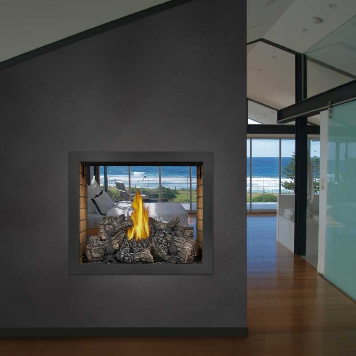 Napoleon Hd81nt Top Vent See Thru Gas Fireplace Body