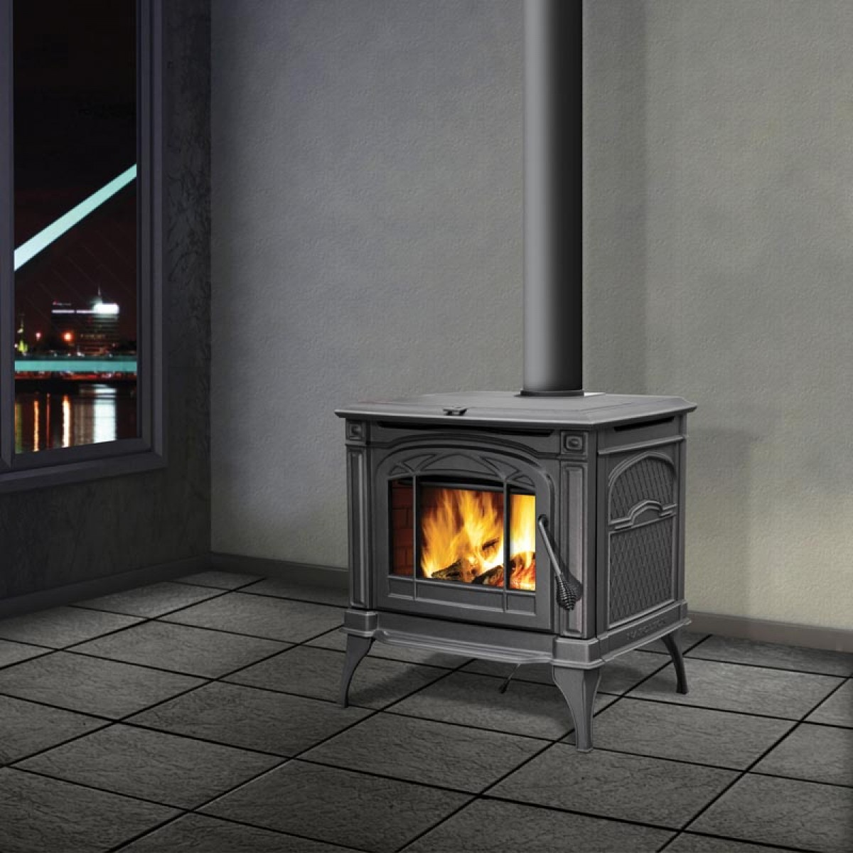 Napoleon 1400cp Cast Iron Wood Burning Stove Metallic