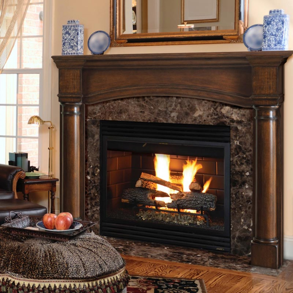 Pearl mantels the princeton fireplace mantel for Wood fireplace surround designs