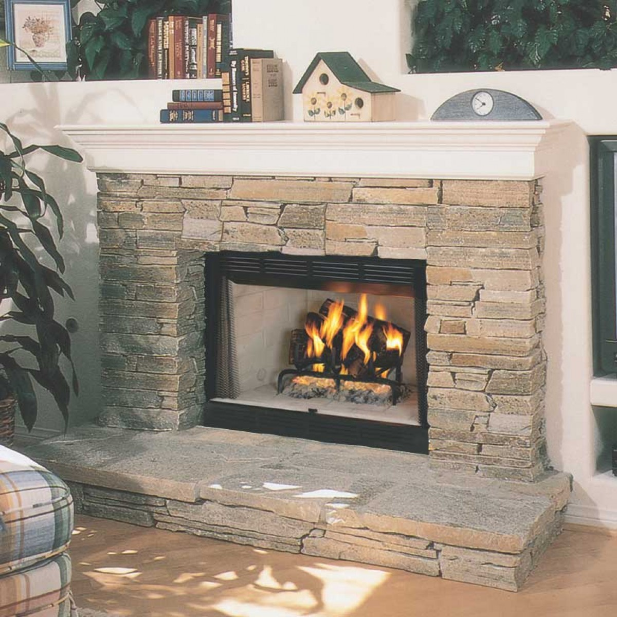 "Wooden Fireplace: IHP Superior WRT2042WSI 42"" Radiant, White Stacked"