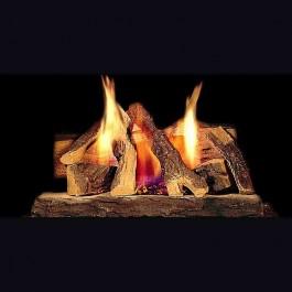 """Majestic 18"""" Campfire fiber gas log set w/SS Burner & heart kit  (NG) CFL-18NG-C"""