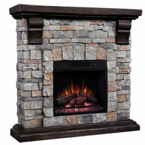 """Classic Flame 18"""" Electric Insert & Pioneer Mantel Set"""