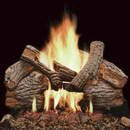 "Majestic VWF24MO 24"" Massive Oak 7-piece Refractory Log Set with Burned-Out areas"