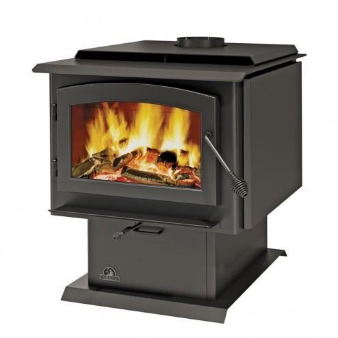 Napoleon Timberwolf Economizer 2300 Large Wood Burning Stove c/w door, pedestal and ash pan painted black