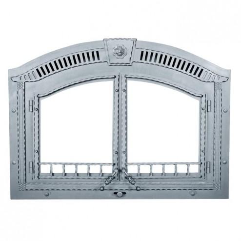 Napoleon H336-K Arched Cast Iron double doors painted black