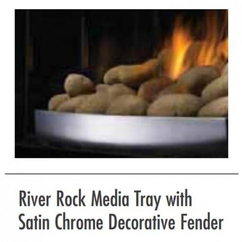 Napoleon RAK46 river rock media tray w/satin chrome decorative fender
