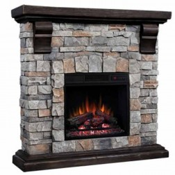 "Classic Flame 18"" Electric Insert & Pioneer Mantel Set"