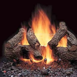"Majestic VWF18AO 18"" American Oak 6-piece Refractory Log Set"