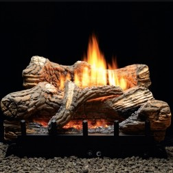 "Empire VFDT24LBP Flint Hill Ceramic Fiber 24"" Log Set w/Thermostat LP Vent-Free Burner"
