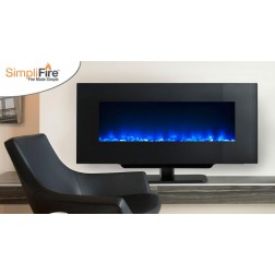 "Majestic SF-WM94-BK 94"" Wall Mount Linear Electric Fireplace with Clean, Flat Face and Fixed Glass"