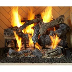 "Majestic 3 Tier 24"" Fireside Grand Oak gas log set with IPI hearth kit (NG)-GO324-IPI-NG"