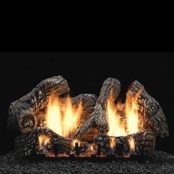 """Empire LS30C2S 6-piece 30"""" Super Size Charred Oak Ceramic Fiber Log Set"""