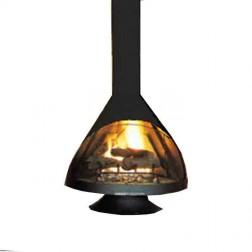 Malm Zircon 38 Inch Wood Burning Matte Black Fireplace w/Matte Black Base